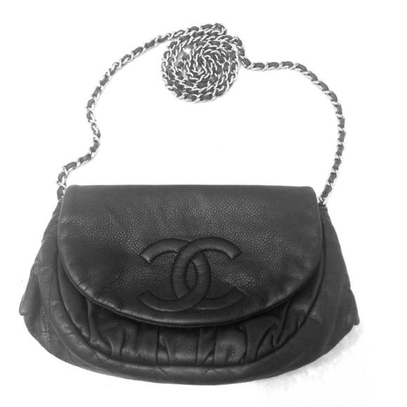 6a2eb0def301 CHANEL Handbags - Chanel Black Caviar Half Moon Wallet on Chain WOC